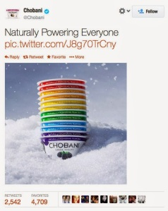 Chobani Yoghurts ad in rainbow colours